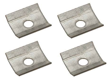 Interlocking safety grating hold-down clamp to fasten to I-beam.