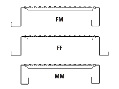 Interlocking safety grating with 3 flange types - FF, FM and MM.