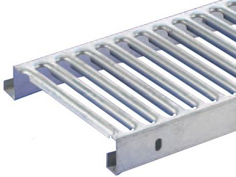 Interlocking plank grating with smooth surface for walkway, stair treads or flooring.